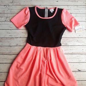 NWT LULAROE Amelia Dress Color Block Solid Black S